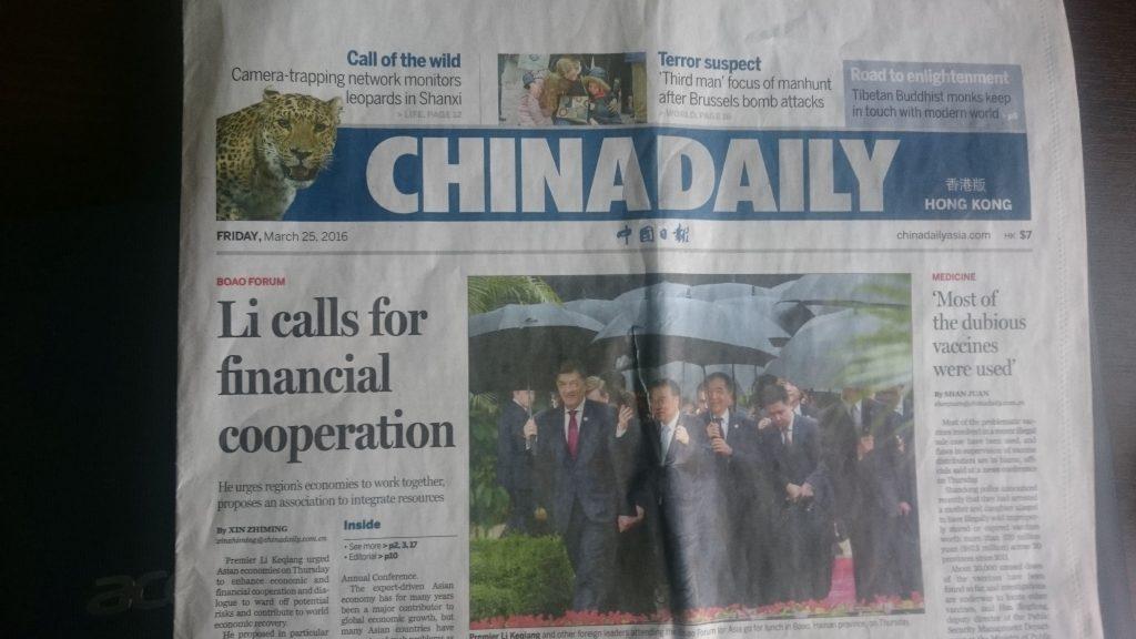 Butkevičius Kinijos dienraštyje