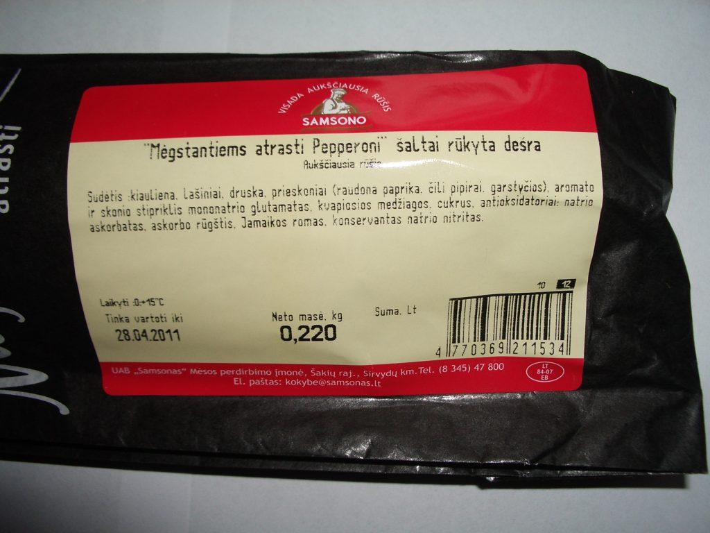 Peperoni dešros sudėtis